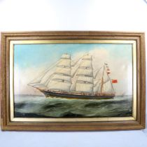 W S Alfred, oil on canvas, 3-masted sailing ship Taunton off the coast, signed and dated 1883,