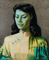 Tretchikoff, mid-century colour print, Miss Wong, 60cm x 50cm, original frame Good condition