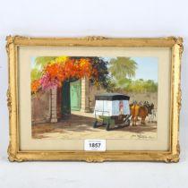 Max Romer, gouache, Madeira 1928, signed, 15cm x 22cm, framed Good condition