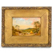 """An early 20th century oil on board, harvest scene, unsigned, inscribed """"The Last Load 1908"""", 15cm"""