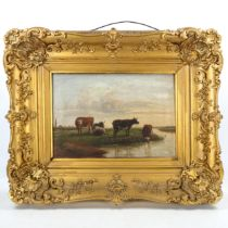 T Corbett, oil on canvas, cattle on a riverbank, signed, 30cm x 44cm, original frame A tiny 1cm