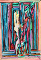 Diran Garabedian (1882 - 1963), gouache, standing figure, signed, 23cm x 16cm, framed Good condition