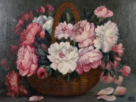 Frank Dobson, oil on canvas, pink chrysanthemums, signed, 39cm x 44cm, framed Very good condition