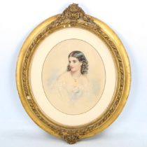 19th century watercolour, portrait of a young woman, unsigned, 30cm x 25cm, framed Very slight paper