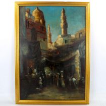 Early 20th century oil on canvas, North African street scene, indistinctly signed, 68cm x 48cm,