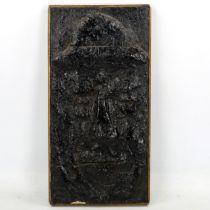 Arnold Daghani (1909 - 1985), painted textured concrete relief plaque, sombre man in a hat, dated