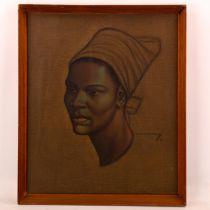 Tretchikoff, mid-century colour print, Zulu Girl, 55cm x 45cm, original frame Good condition but