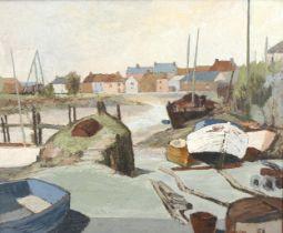 E P Hains, mid-century oil on board, boatyard Newhaven, signed, 50cm x 60cm, original teak frame