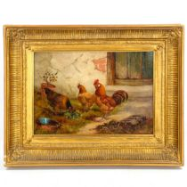 E S England (active 1890 - 1910), oil on canvas, poultry in the yard, 25cm x 35cm, framed Good