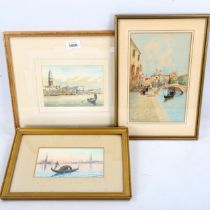 3 early 20th century watercolour scenes in Venice, including works by H Biondetti and U Ongania,