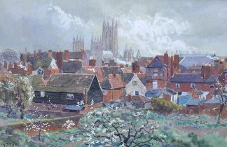 Martin Snape, watercolour, view towards a cathedral, signed, 18cm x 27cm, framed Good condition,