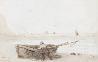 Williams Rogers (exhibited 1825 - 1867), ink and wash, fishermen at the shore, 7cm x 11cm, framed,