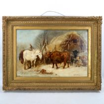 Harden Sidney Melville (1824 - 1894), oil on canvas, cattle and horses in the farmyard, signed, 40cm