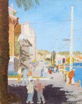 Basil Maunder, oil on board, Continental harbour scene, signed, 50cm x 40cm, framed Very slight