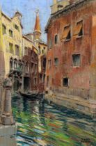 Oliver Beadle, pair of coloured pastels, scenes in Venice, signed, 35cm x 23cm, framed Good