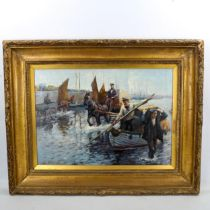 Contemporary oil on board, unloading the catch, indistinctly signed, 42cm x 60cm, framed Good