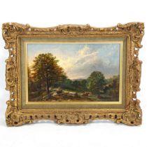 19th century oil on wood panel, cattle in landscape, indistinct artist inscription verso, 20cm x