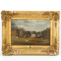 19th century English School, oil on canvas, country house at Chertsey, unsigned, 23cm x 35cm, framed