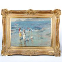 Contemporary Italian School, oil on canvas, impressionist beach scene, indistinctly signed, 50cm x