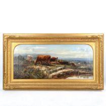 Herbert William Weekes (active 1856 - 1904), oil on canvas, cattle in extensive landscape, signed,