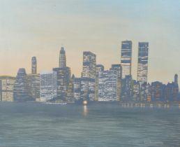 D Hayward, oil on canvas, New York skyline at night, signed, 50cm x 60cm, framed Good original