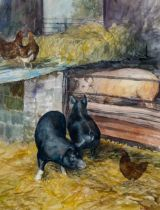 Robert Boar, watercolour, pigs and poultry, signed, 39cm x 30cm, framed Good condition