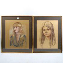 Shirley Bellwood (1931 - 2016), 3 coloured pastel on paper, portraits, largest 48cm x 40cm,