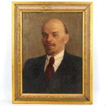 V Simashkevish, oil on canvas, portrait of Lenin, inscribed verso with date 1961, 48cm x 36cm,