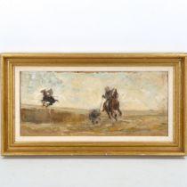 Oil on board, impressionist wild boar hunting scene, indistinctly signed?, 22cm x 50cm, framed