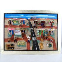 Jackson Nqumanda (born 1948), mixed media 3-D collage, African village scene, silvered frame,