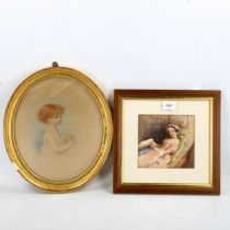 A 19th century watercolour, woman reading a book, unsigned, 15cm x 16cm, and Edith Scannell,