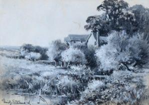 Emily Stannard, monochrome watercolour, rural scene, 12cm x 18cm, framed Slight paper discolouration