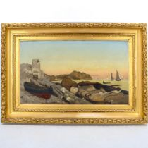 William Heath Wilson (1849 - 1927), oil on canvas, boat on the shore, signed, 38cm x 64cm,
