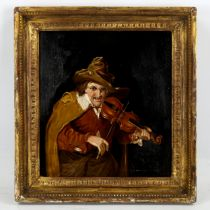 Oil on wood panel, portrait of a violinist, unsigned, 28cm x 26cm, framed A few very small spots