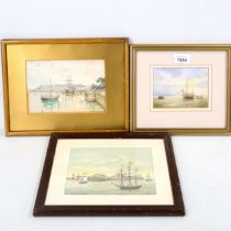 3 small marine watercolours, all unsigned, largest 12cm x 17cm, framed (3) Good condition