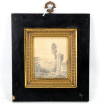 A 19th century pencil drawing, detailed view of Istanbul, unsigned, in ormolu-mounted ebonised
