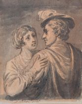 D Wilde, monochrome watercolour on coloured paper, romantic couple, signed and dated 1815, 14cm x