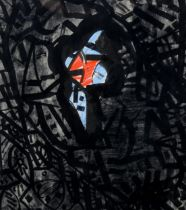 Arnold Daghani (1909 - 1985), ink and watercolour abstract, signed and dated September 25 1960, 20cm