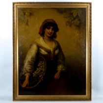 19th century Italian School, oil on canvas, girl with a basket of grapes, unsigned, 92cm 71cm,