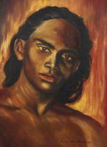 Gerard d'A Henderson (1928 - 2014), oil on board, portrait, signed, 40cm x 29cm, framed Good