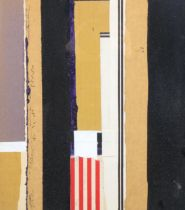 Theo Mendez (1934 - 1997), collage on card, black/brown composition, signed and inscribed with