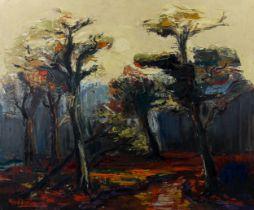 Jack Godderis (1916 - 1971), oil on canvas, trees in landscape, signed, 83cm x 68cm, framed Good