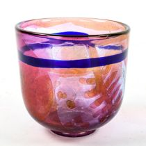KOSTA WARFF glass bowl, unique red and blue with overlay and cut decoration, dated 1973, signed to