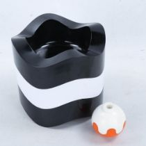 WALTER ZEISCHEGG for Helit, 3 moulded plastic stacking ashtrays and a pen holder circa 1967, stamped
