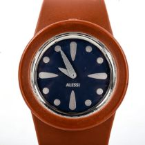 STEPHANO PIROVANO for Alessi, a rubber-strapped designer watch, with steel and blue face Good