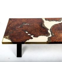 A late 20th century resin table with embedded teak rootwood, IK maker's logo in resin, dimensions,