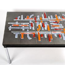 ADRI BELGIQUE, a 1960s tile-top coffee table with metal frame, signature in tile, length 93cm, width