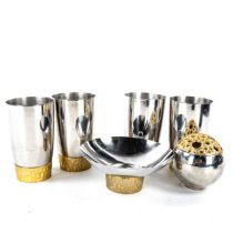 STUART DEVLIN for Viners, a set of 4 1960s brutalist stainless steel and gilt-metal beakers, a