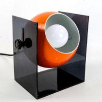 HERBERT TERRY, British, a 1960s 2000 Series Eyeball desk lamp, with orange painted metal ball