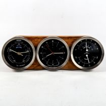 SIR KENNETH GRANGE, a Taylor, Short & Mason barometer, clock and thermometer set, mounted in zebrano